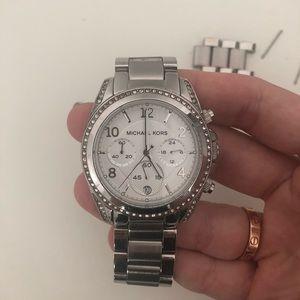 Michael Kors silver watch w stones on bezel